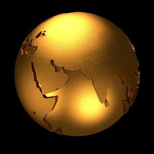 3D model golden earth