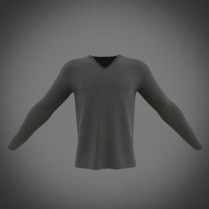 v-neck long sleeve t-shirt model