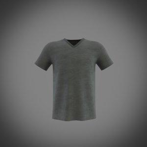 3D model v-neck short sleeve t-shirt