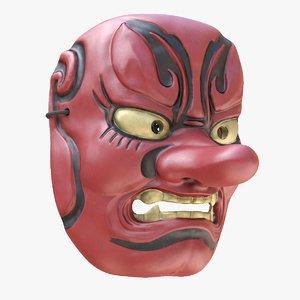 japanese mask tengu gigaku 3D