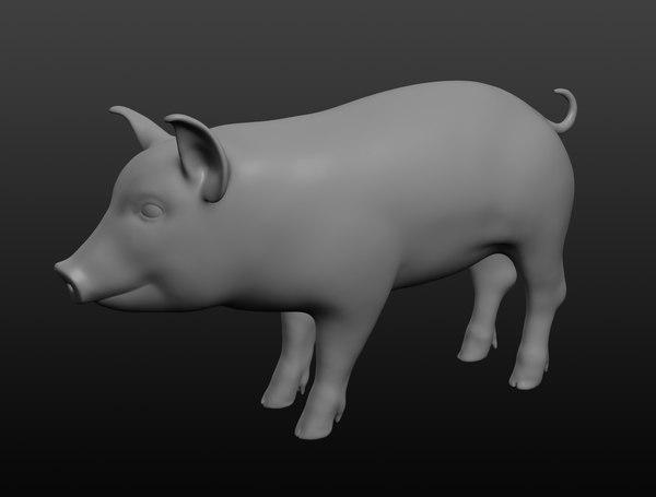 3D piggy base mesh model