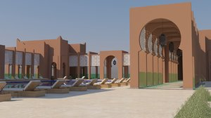 3D traditional moroccan pool architecture exterior