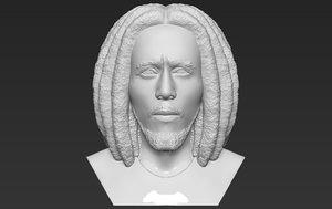 bob marley bust ready 3D model