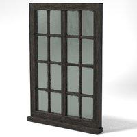 medieval glass window wood 3D