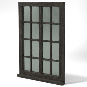 medieval glass window wood 3D