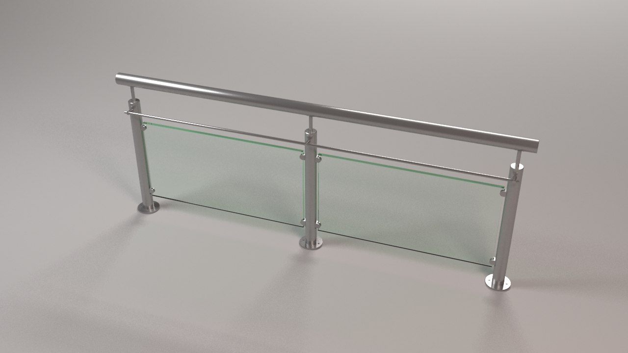 3D steel railing model - TurboSquid 1412358