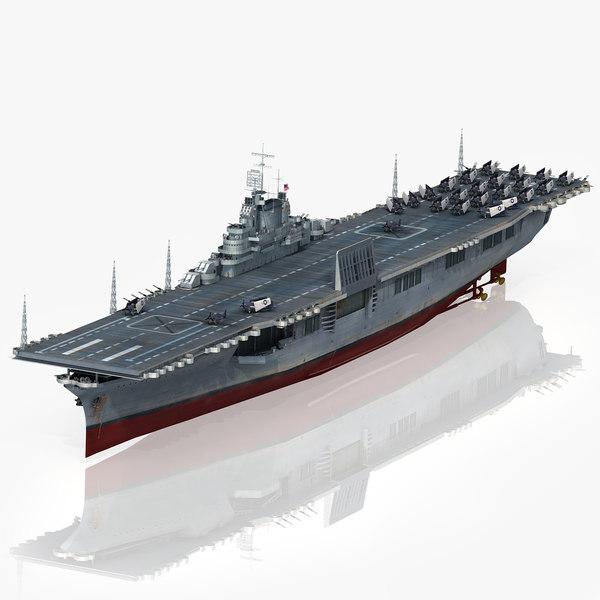 3D model uss intrepid cv-11 1943