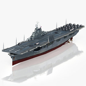 3D model uss intrepid cv-11 1943