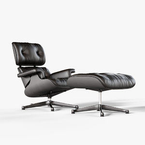 black eames vitra lounge chair 3D model