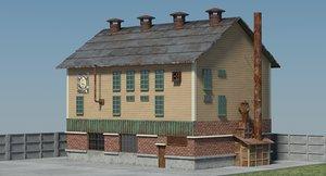 3D victorian industrial building