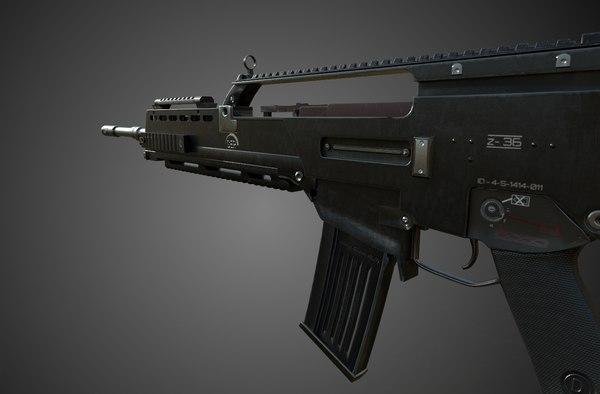 assault rifle rigged model