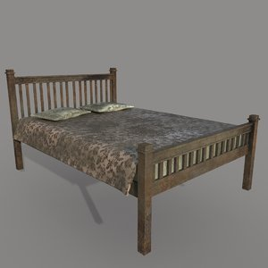3D old dirty bed