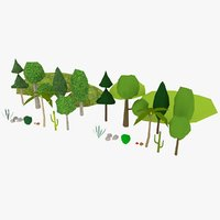 plants rocks hills 3D