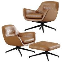Leather Armchair Jensen by Minotti