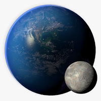3D Earth and Moon Photorealistic 16K model