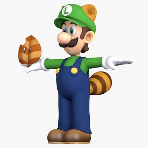 3D raccoon tail luigi super mario model