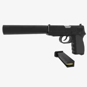 damaged silenced pistol 3D