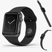 Apple Watch Space Black Stainless Steell Case with Black Sport Band