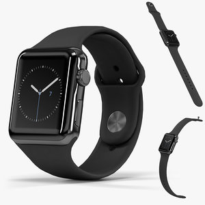 3D apple watch space black