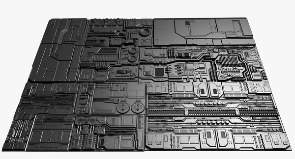 set panels sci-fi 3D model