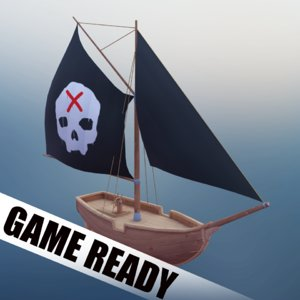 pirate ship hand painted 3D model