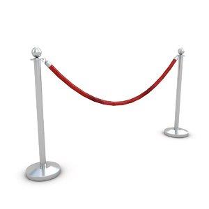 velvet rope red 3D model