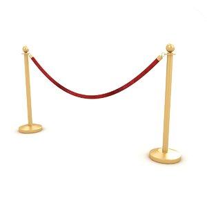 3D velvet rope red