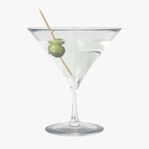 martini cocktail glass 3D model