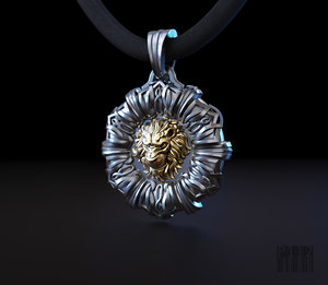 3D jewelry lion pendant patterns