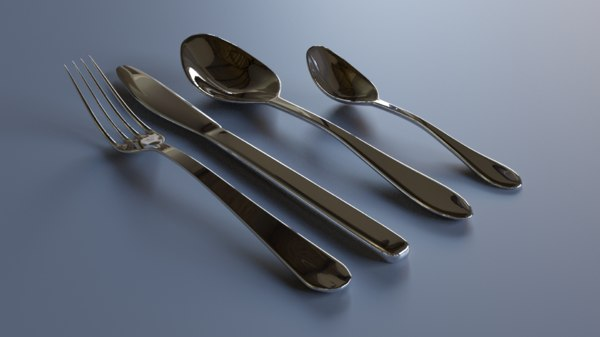 3D cutlery fork tableware model