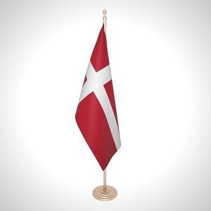 3D denmark flag