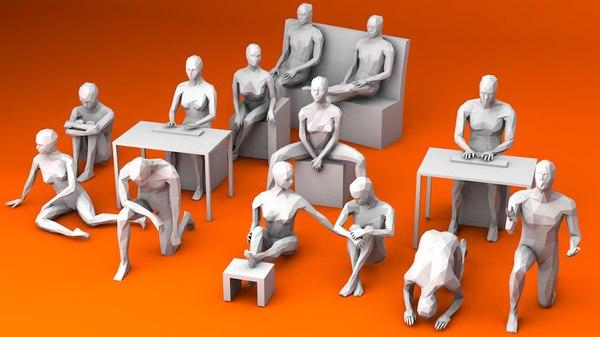 sitting 3 kneeing 3D