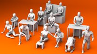 10 Sitting and 3 Kneeing People Lowpoly 3D Model