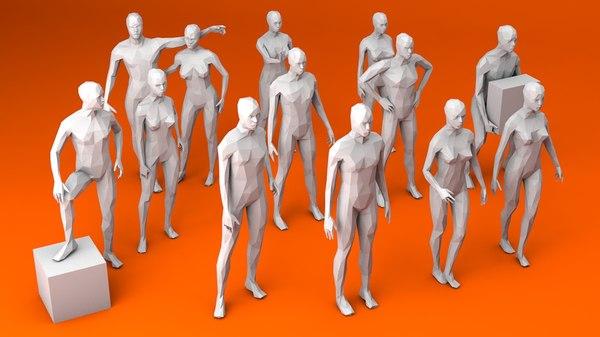 pose women men 3D model