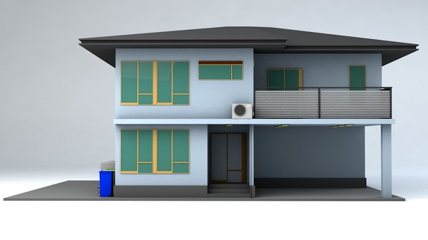 3D japanese suburban rural house model