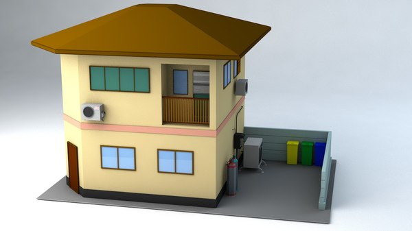 3D japanese suburban rural house 1