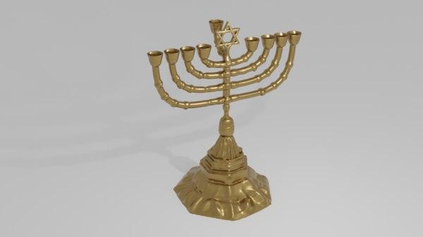 3D menorah candelabrum