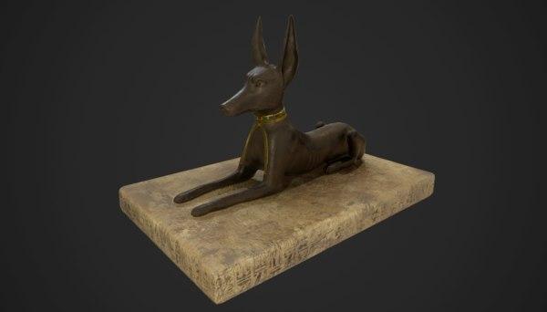 3D anubis jackal statue