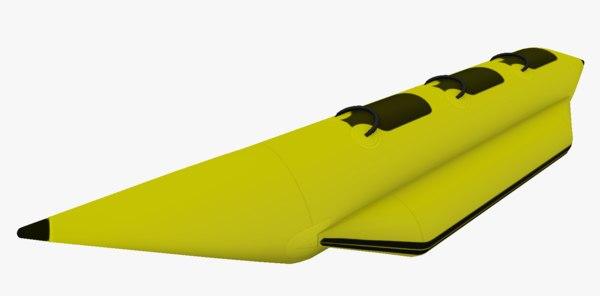 3D model beach banana boat toon
