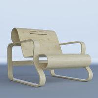 modern bent plywood armchair 3D