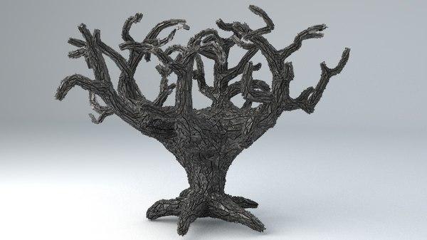 - sci-fi shapes tree 3D model