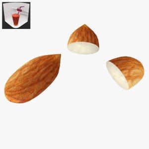 3D almond games fruit model