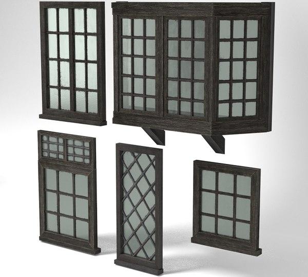 3D medieval windows pack glass model