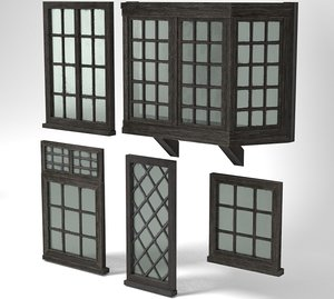 3D medieval windows pack glass model