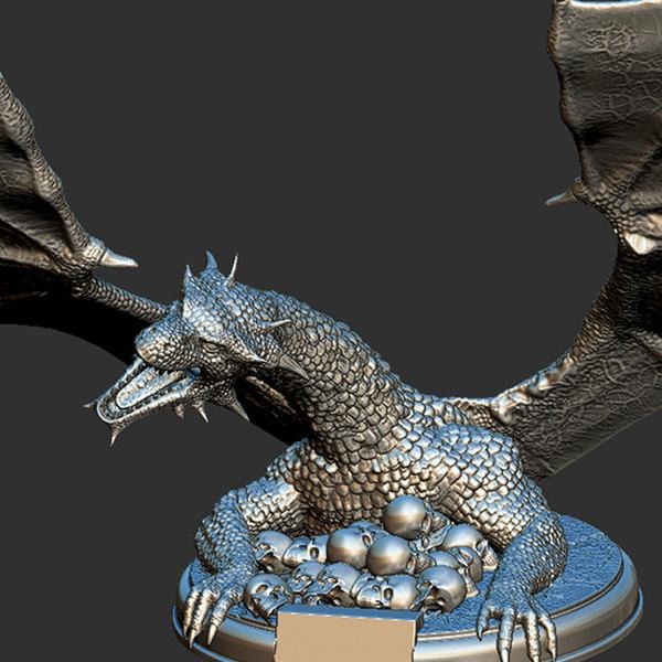 3D thrones print drogon model