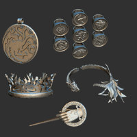 Game Of Thrones Collection Ring Necklace Bracelet Crown King Pin 3D print model Pack