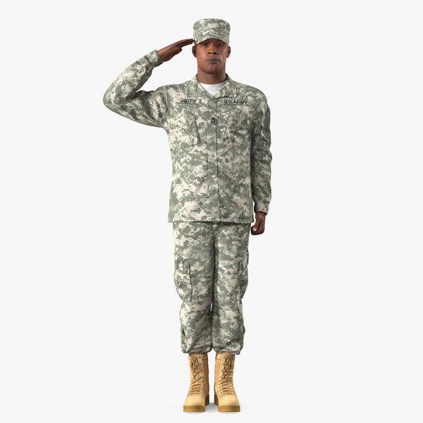 saluting african american soldier 3D model