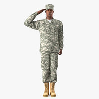 saluting african american soldier 3D model