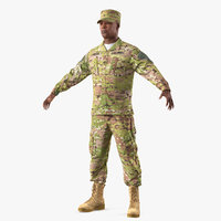 3D model army soldier camouflage t-pose