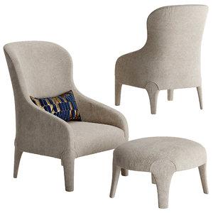 3D model melanie armchair footstool